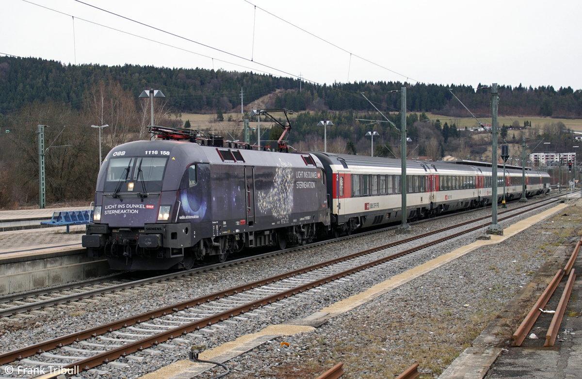 1116 158-7 aufgenommen am 11.03.2018 im Bahnhof Tuttlingen