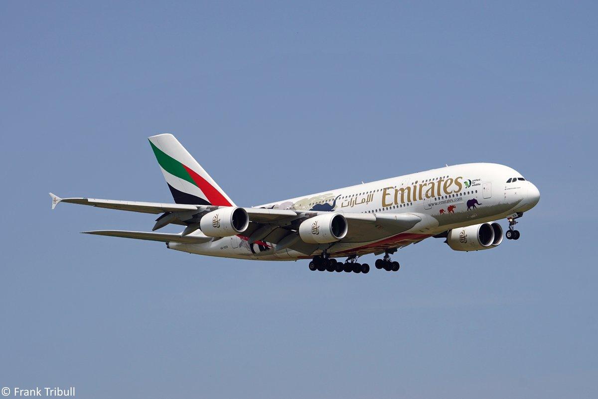 Ein A380-861 von Emirates mit der Kennung A6-EER aufgenommen am 26.05.2018 am Flughafen Zürich