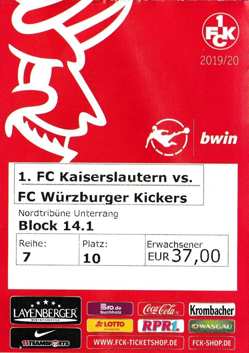 Eintrittskarte Spiel 1. FC Kaiserslautern - FC Würzburger Kickers am ß2. November 2019